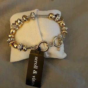 Scroll & Vines toggle charm bracelet NIB